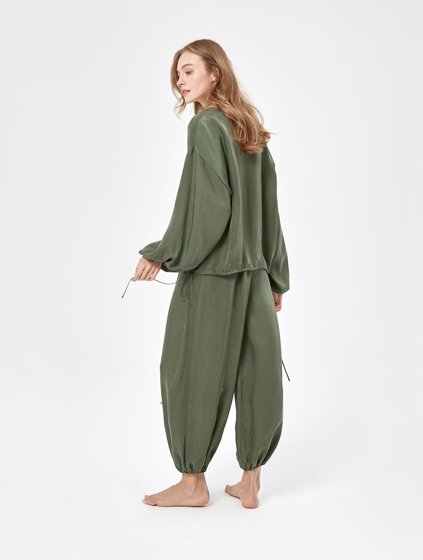 Cool Silk Puff Sleeve Set_001