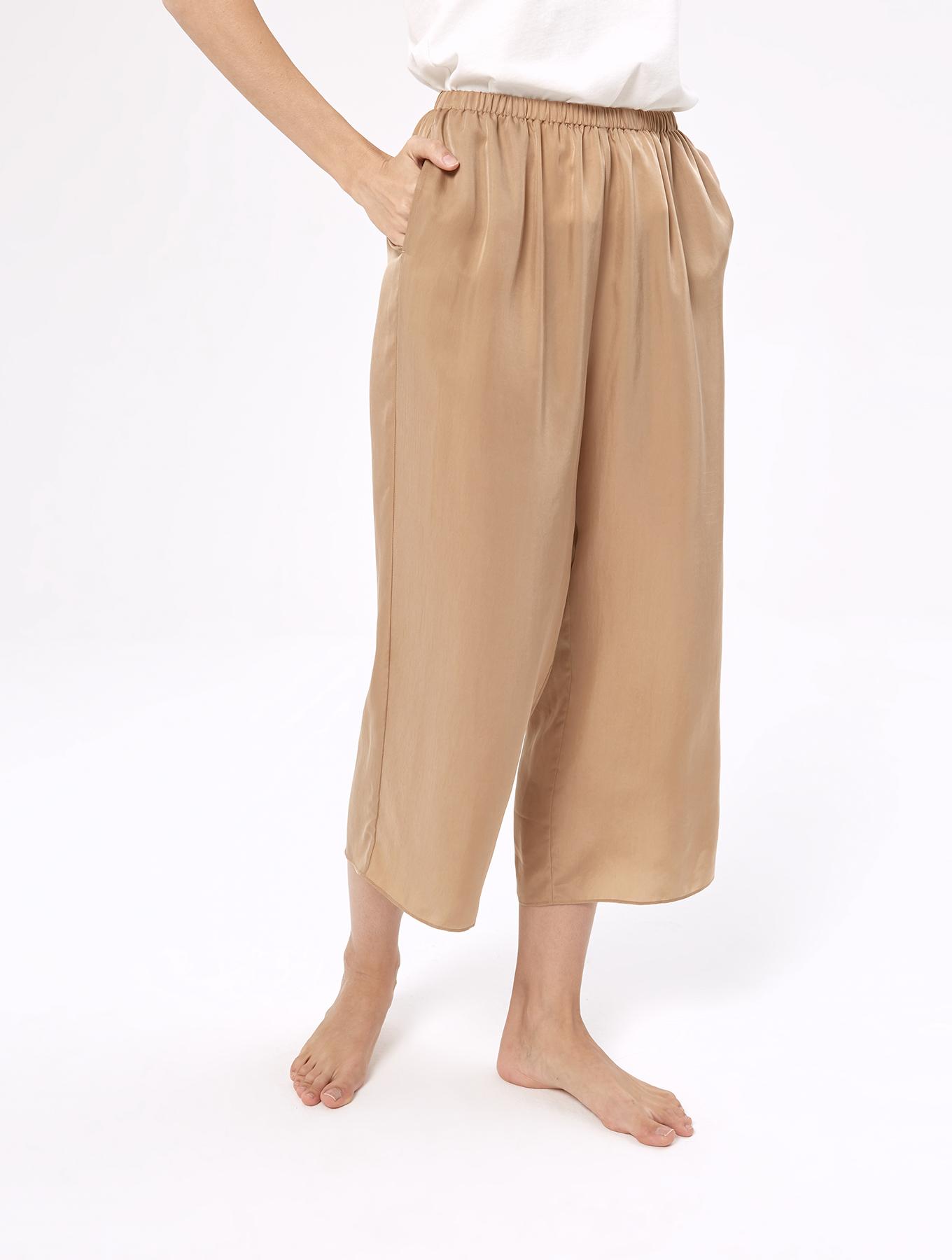 Cool silk drawstring cropped pants_000