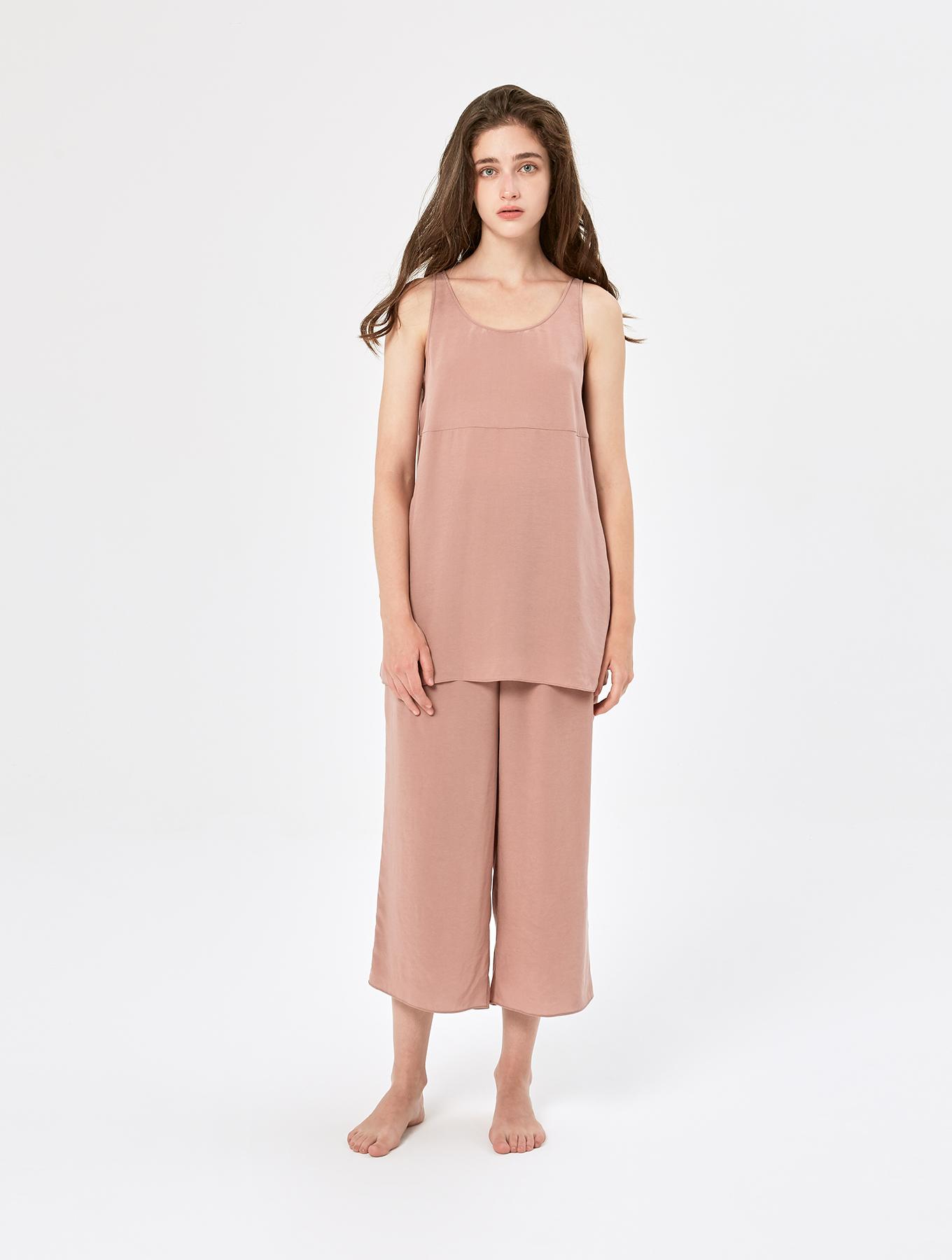 Cool silk drawstring cropped pants_002