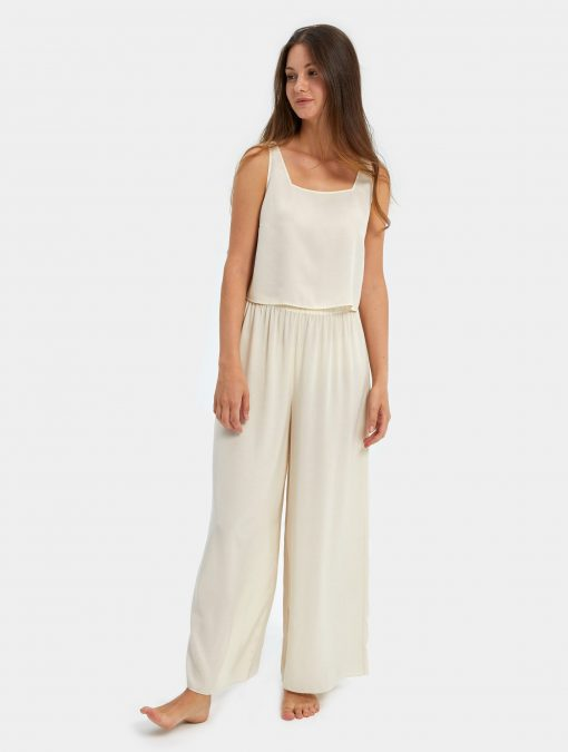 Ivory Crop Top and Pants Set