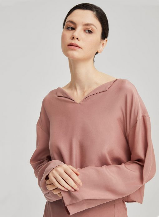 Long Sleeve Split Neck Shirt Crop Top