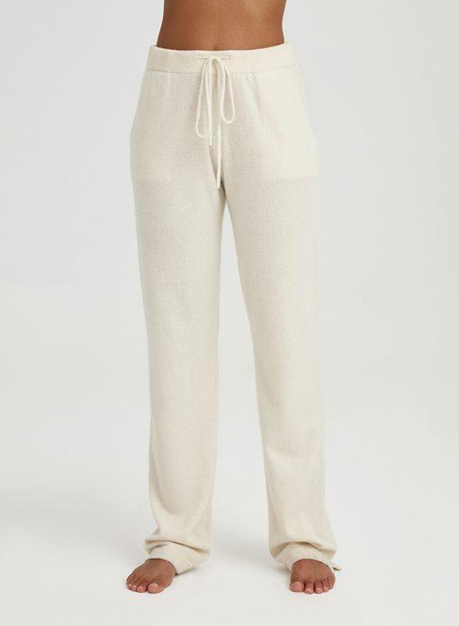 White Straight-Leg Cashmere Pants