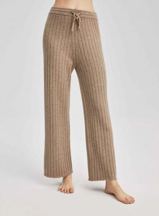 Cashmere Rib-Knit Drawstring Waist Wide Leg Pants