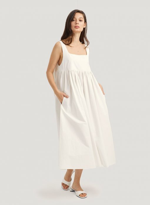 White Loose Summer Midi Dress