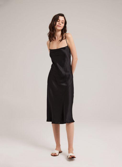 Silk Satin Slip Midi Dress