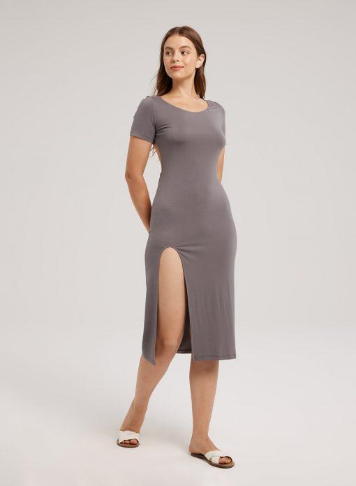 charcoal grey bodycon dress