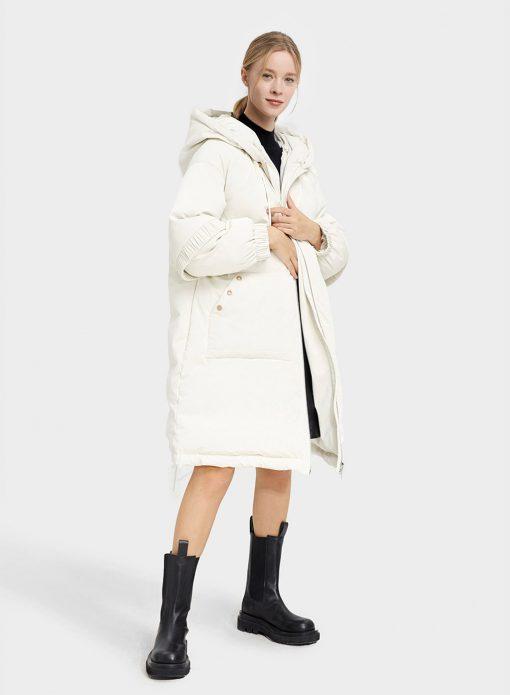 Hooded Knee Length Down Coat